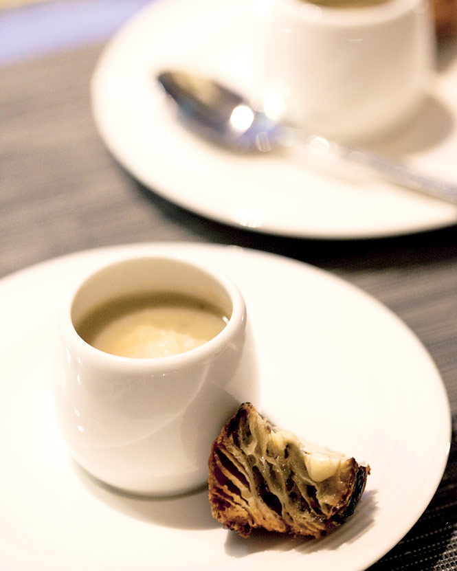 Black truffle and artichoke soup, on the menu at Guy Savoy's eponymous French eatery.