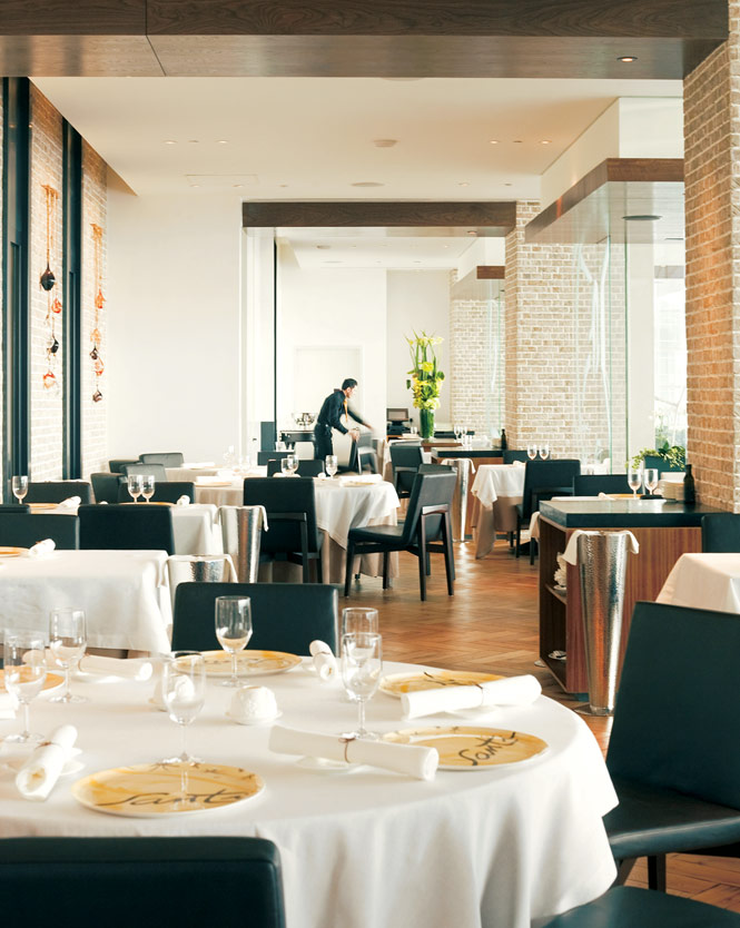 Santi's light-filled dining room.