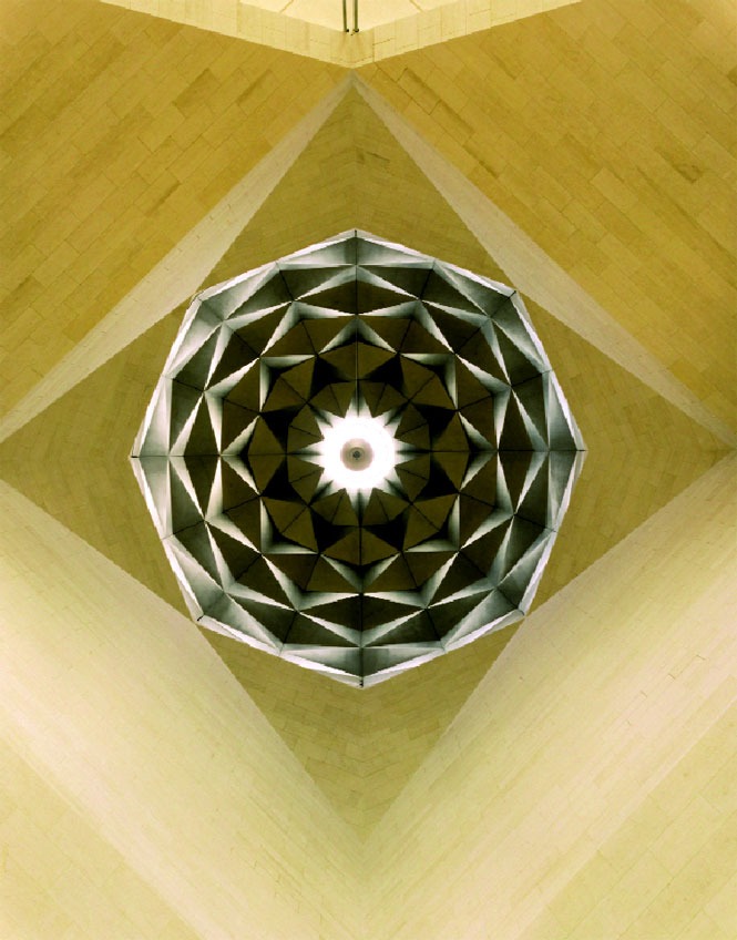 The atrium's faceted dome and skylight.