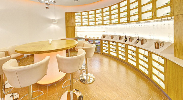 The lounge also features a wine bar.