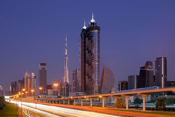 An external shot of the towers.