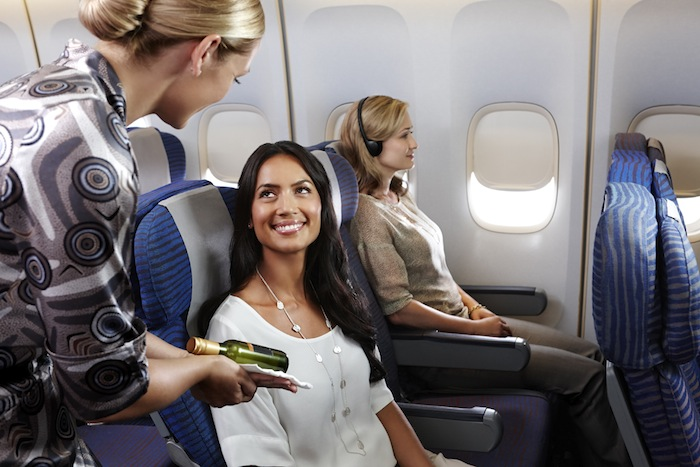 Economy service includes continuous refreshments throughout the flight.