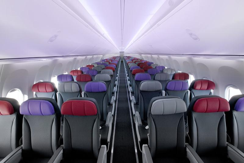 Both Business Class and Economy Class passengers enjoy leather seats.