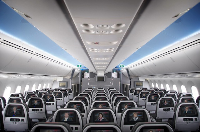 The aircraft features larger overhead storage bins.