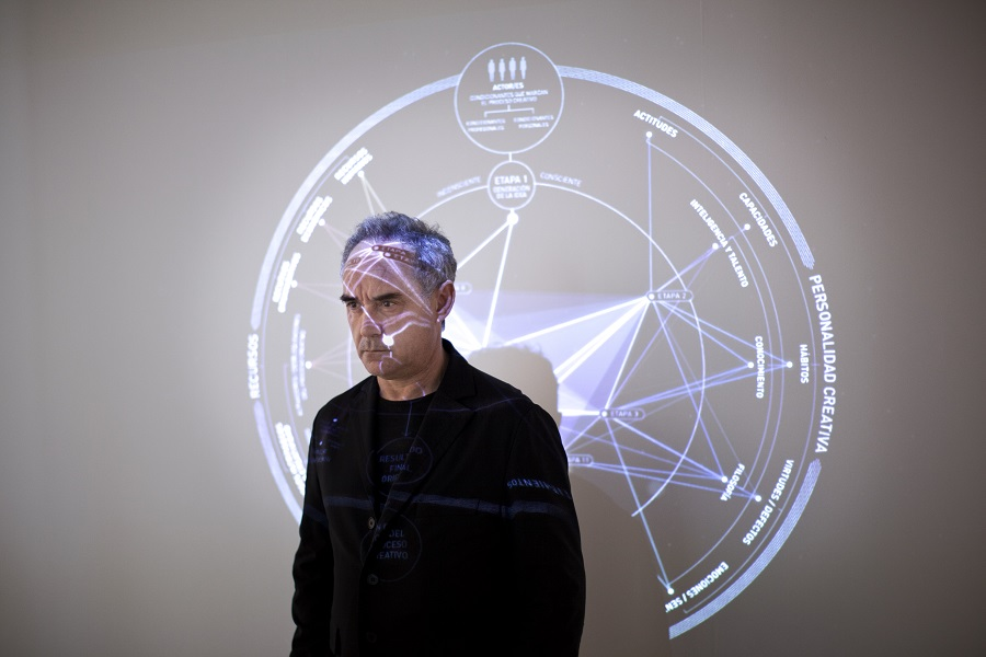 Adrià in front of a map of his creative process, which the exhibit's floor plan mimics.