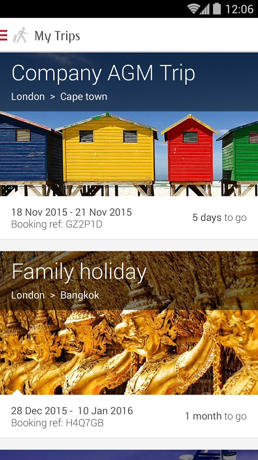 The Emirates app for Android lets users review upcoming trips.