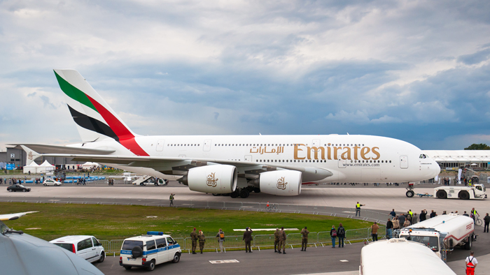 An Emirates A380.