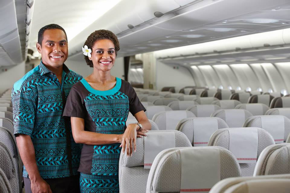 Flight attendants on Fiji Air.