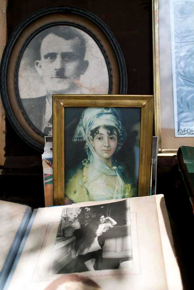Family portraits for sale at Yerevan's weekend flea market.