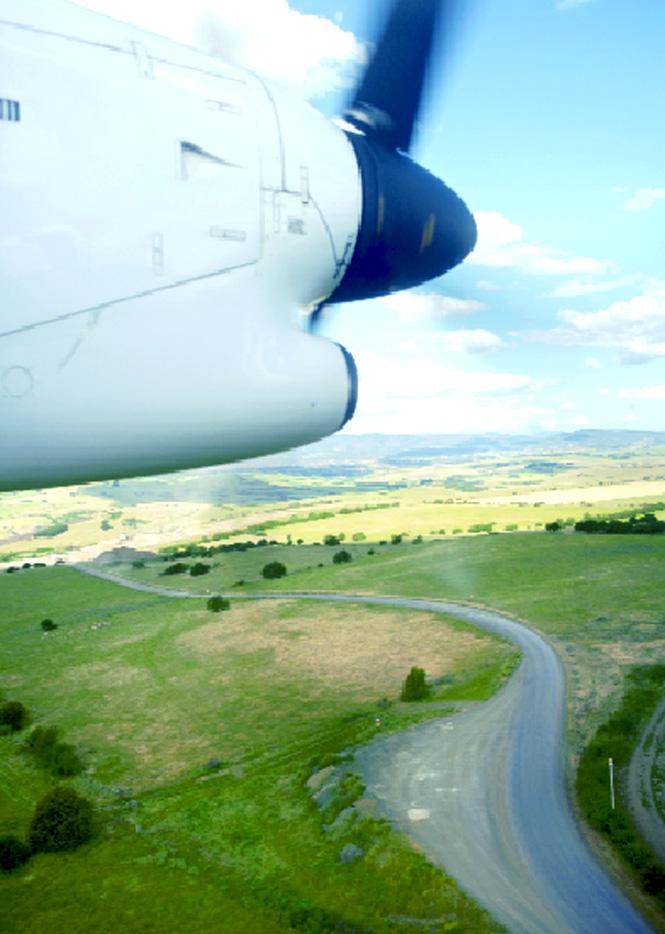 Flying into Launceston.