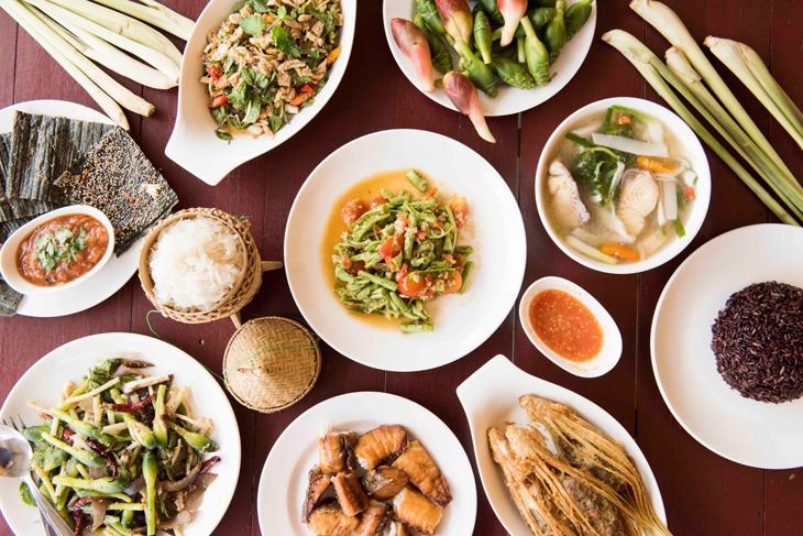 A spread of Lao dishes at Doi Ka Noi.