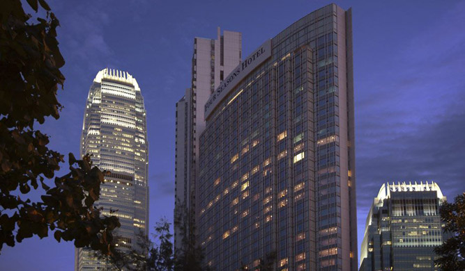 The exterior of the Four Seasons Hong Kong hotel.