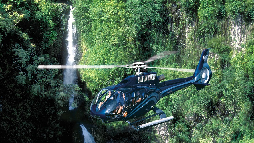 A helicopter tour in Hawaii, near the Four Seasons Resort Maui at Wailea.