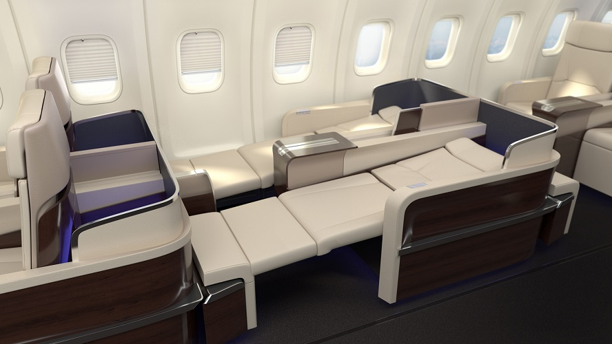 The Boeing's interior with Italian-made lie-flat seats