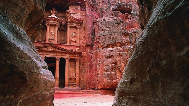 Temples carved into cliffs in Petra, an excursion from the Four Seasons Hotel Amman.