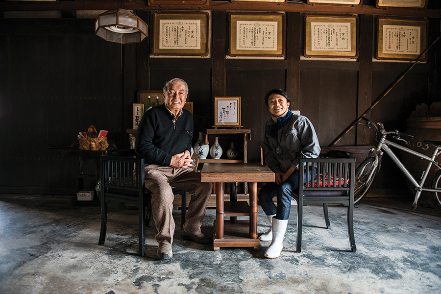 Father and daughter team Yukinao and Miho Imada in the foyer of their family's namesake brewery.