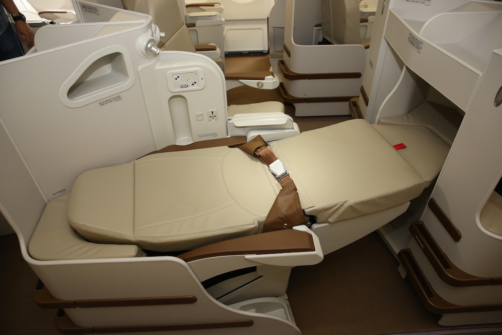 A view of the lie-flat business-class seats.