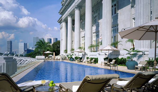 The pool at the Fullerton Hotel.