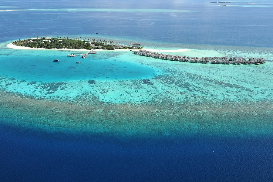 An aerial view of Loama Resort Maldives at Maamigili.