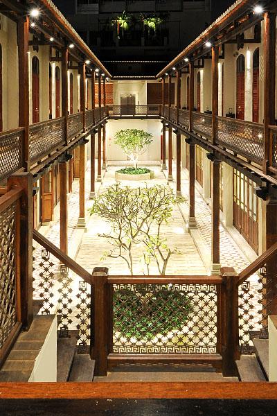 The main courtyard with frangipani trees.
