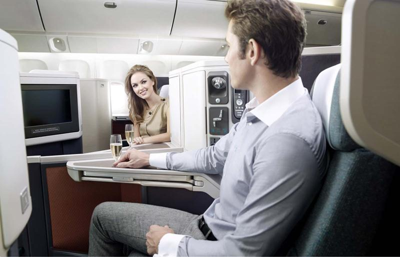 Cathay's long-haul business class section. The 9X has a range of 15,185 kilometers, making it ideal for long-haul flights.