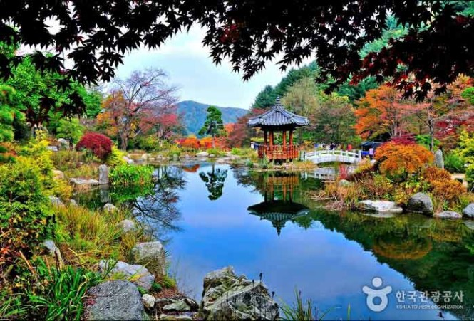 The garden derives its name from one of the descriptions of Korea, as coined by an Indian polymath.