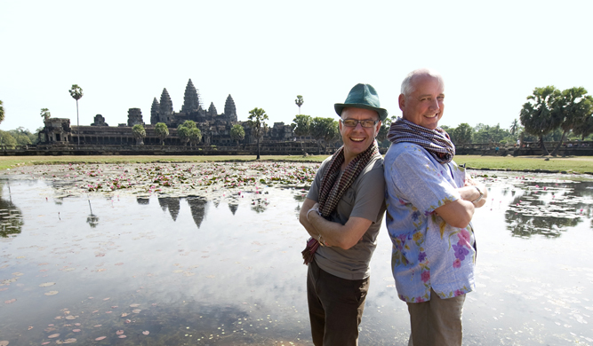 Robert and Morrison of Globetrotting Gourmet Tours in front of Angkor Wat in Siam Reap, Cambodia.
