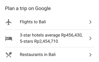 The 'Plan a Trip' feature as seen on the Google mobile app.
