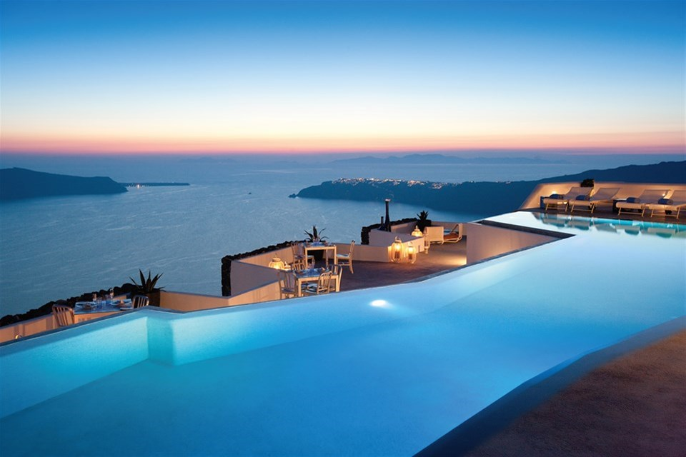 Sunset view of the infinity pool at Grace.