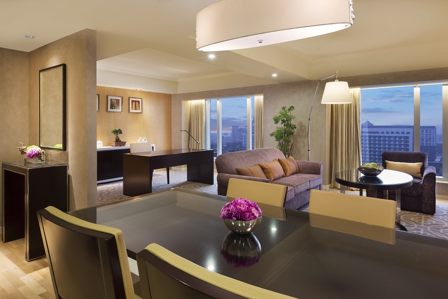 Open-concept living spaces maximize the size of the suites.