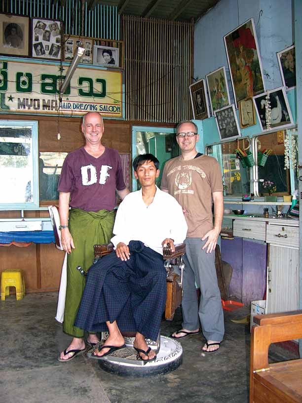 Authors Robert Carmack (in the green longyi) and Morrison Polkinghorne in the Shan State of Thibaw.