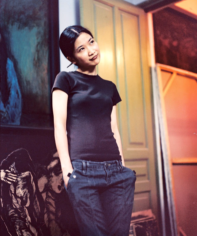 Artist Ly Tran Quynh Giang at home in her studio.