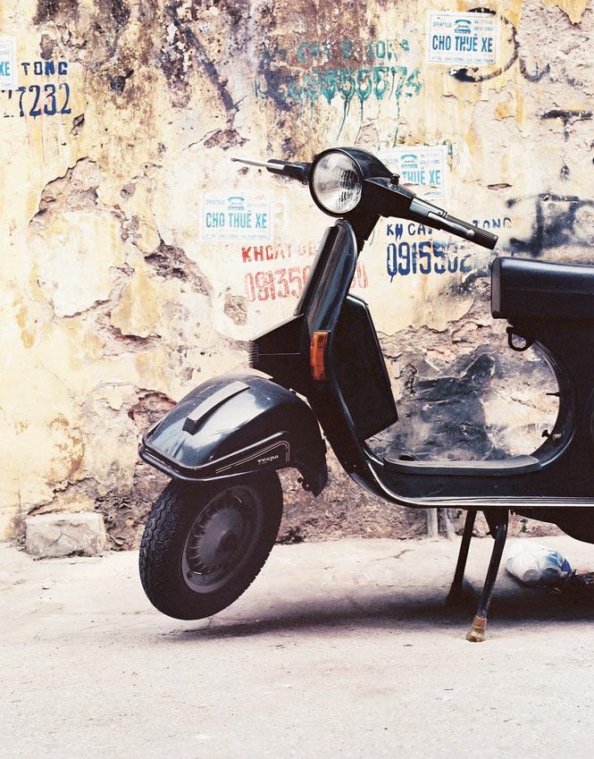 A scooter in the Hoan Kiem area.