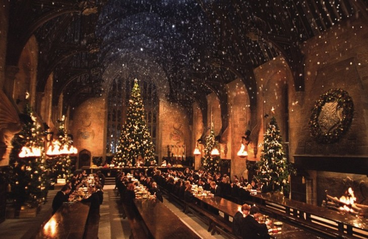 Hogwarts students during a Christmas dinner at the Great Hall.