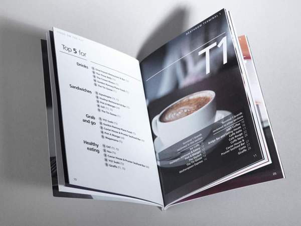 The Food on the Fly guide includes overviews of the dining options, Top 5 lists, and eateries by terminals.
