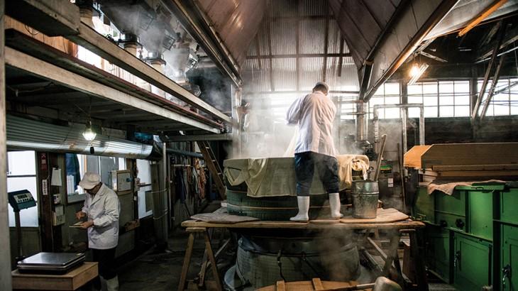 Rice Steaming at the Hinomaru Sake Brewery