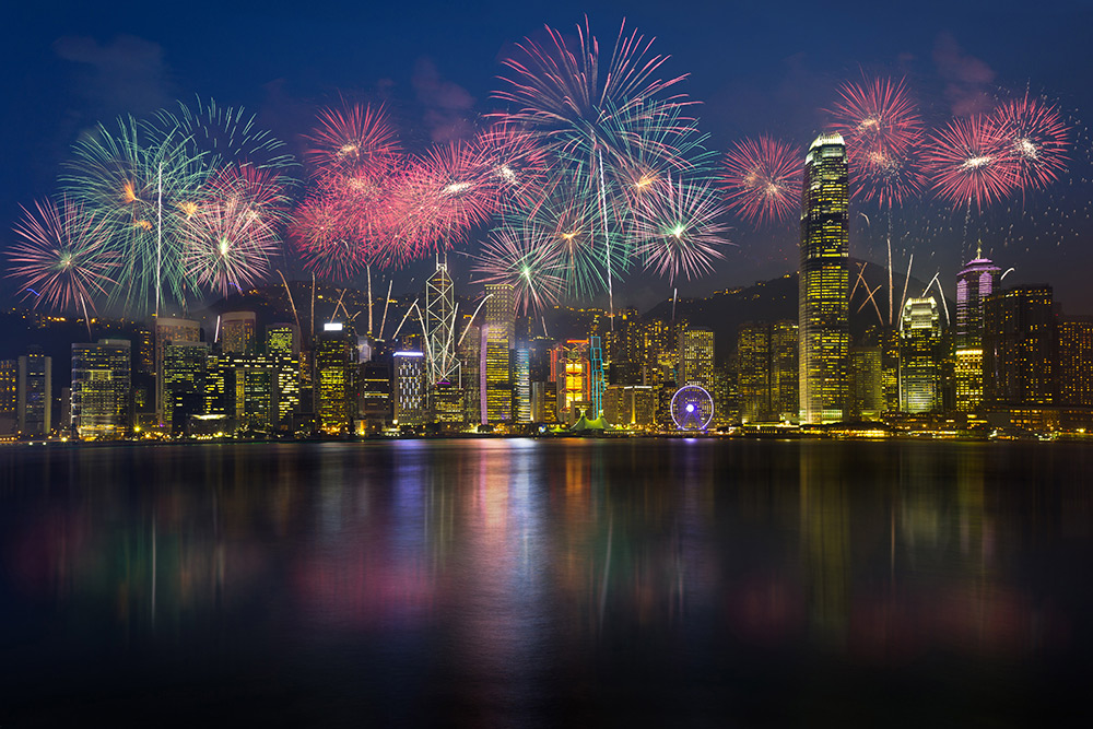 Pyrotechnics light up the sky in Hong Kong.