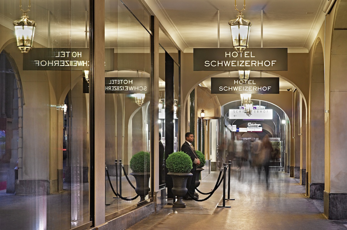 The arcaded entrance to Hotel Schweizerhof.