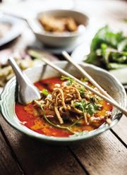 The same restaurant serves unctuous curried egg noodles (khao soi)