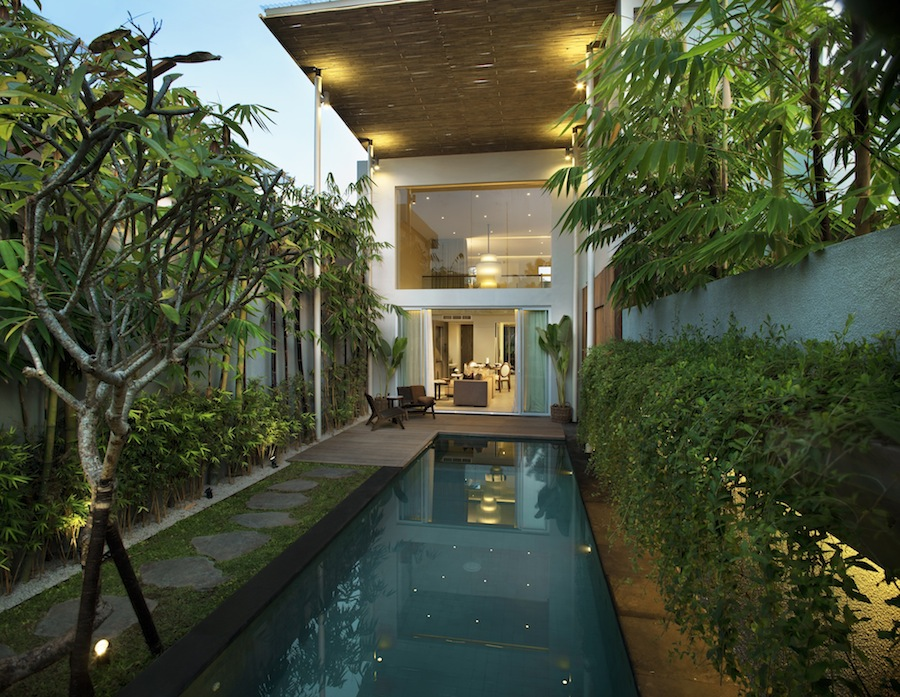 A view of the one-bedroom loft villa from the pool.