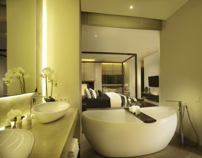 The master bathroom and bedroom of the two-bedroom villa.