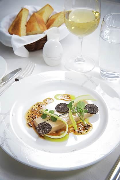 Terrine with foie gras, truffle, asparagus, and brioche.