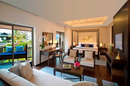 The Garden View Suite looks out to the Bill Bensley-designed landscape.
