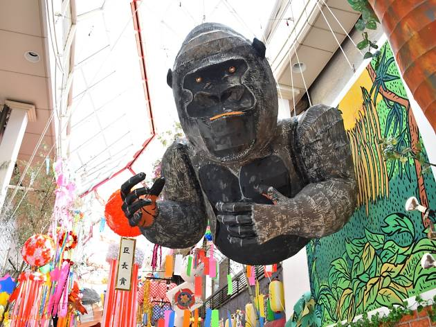 Those exiting the JR Asagaya Station will be greeted by the likes of Godzilla.