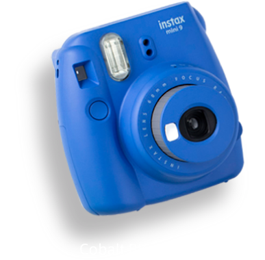The camera in cobalt blue.