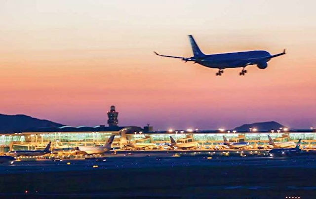 Sunset over Incheon International Airport.