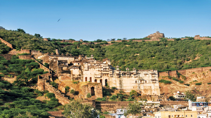 Bundi's Garh Palace dominates the town from its hillside fastness.