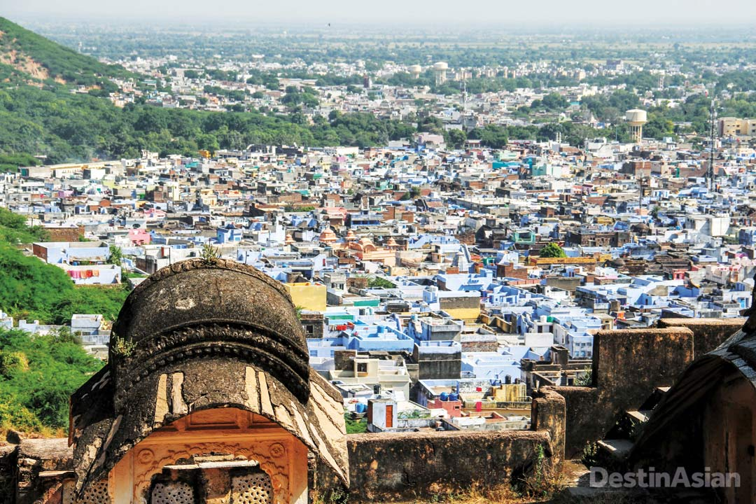 Overlooking Bundi's distinctively colored houses from the walls of the Garh Palace.