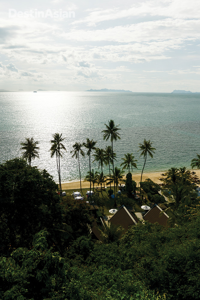 Overlooking the InterContinental's private stretch of sand on Taling Ngam Bay.