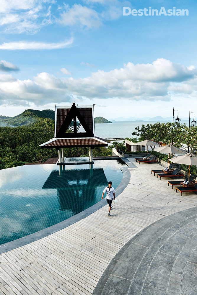 Like the rest of the hilltop resort, the swimming pool at the InterContinental Samui comes with staggering views of the Gulf of Thailand.